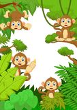 Cartoon happy monkey in the forest Royalty Free Stock Image
