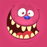 Cartoon happy monster face. Halloween monster mask. Funny monster avatar vector illustration