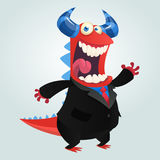 Cartoon happy monster teacher presenting. Vector illustration. Royalty Free Stock Photo