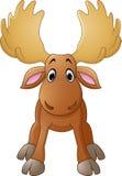 Cartoon happy moose with big horns Royalty Free Stock Photo
