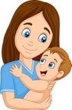 Cartoon happy mother hugging her baby. Illustration of Cartoon happy mother hugging her baby royalty free illustration