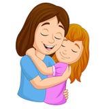Cartoon happy mother hugging her daughter vector illustration
