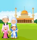 Cartoon happy Muslim family. Illustration of Cartoon happy Muslim family Royalty Free Stock Images