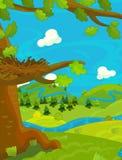 Cartoon happy nature scene with empty nest Stock Photography