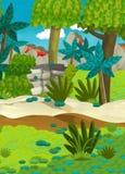 Cartoon happy nature scene - jungle Stock Photos