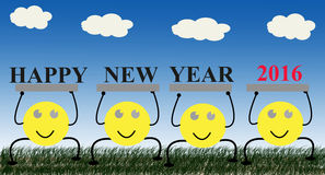 Cartoon happy new year 2016 Stock Photography