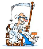 Cartoon Happy New Year. Cartoon caricature of old father time pushing baby New Year in carriage Stock Photos