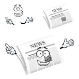 Cartoon happy newspaper icon character Stock Photography
