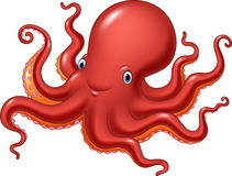 Cartoon happy octopus isolated on white background Stock Photo