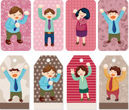 Cartoon happy office workers  card Stock Photo