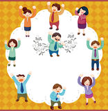 Cartoon happy office workers  card Stock Image