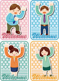 Cartoon happy office workers  card Stock Photography