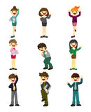 Cartoon happy office workers icon Stock Photography