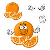 Cartoon happy orange fruit with slices. Juicy healthful orange fruit cartoon character with slices and funny face, for agriculture or food themes design Royalty Free Stock Photo