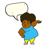 Cartoon happy overweight lady with speech bubble Stock Photo