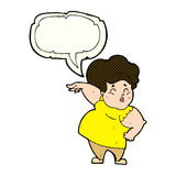 Cartoon happy overweight lady with speech bubble Stock Images