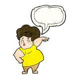 Cartoon happy overweight lady with speech bubble Stock Image