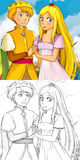 Cartoon happy pair - fairy prince and princess Stock Photos