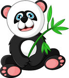 Cartoon happy panda holding bamboo Stock Photos