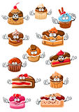 Cartoon happy pastry and bakery Stock Photo