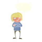Cartoon happy person with speech bubble Stock Photo