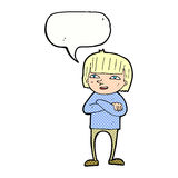 Cartoon happy person with speech bubble Royalty Free Stock Images