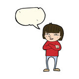 Cartoon happy person with speech bubble Stock Image