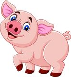 Cartoon happy pig isolated on white background vector illustration