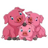 Cartoon happy pig mother with piglets stock illustration