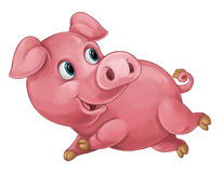 Cartoon happy pig is smiling looking and smiling / artistic style - isolated Stock Photo