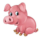 Cartoon happy pig is smiling looking and smiling - artistic style - isolated Royalty Free Stock Photos