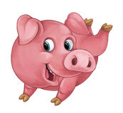 Cartoon happy pig is smiling looking and smiling / artistic style - isolated Stock Photography