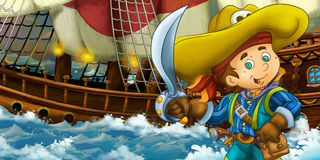 Cartoon happy pirate in front of a wooden ship Stock Image