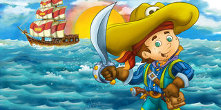 Cartoon happy pirate in front of a wooden ship Royalty Free Stock Photo