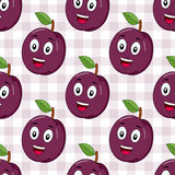 Cartoon Happy Plum Seamless Pattern. A seamless pattern with a cartoon cheerful plum character smiling, on a checkered picnic tablecloth background. Useful also Stock Photos