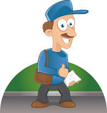 Cartoon happy postman with a mustache holding lett Royalty Free Stock Photo