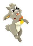 Cartoon happy rabbit eating carrot -  Stock Photography