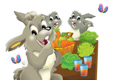 Cartoon happy rabbit eating carrot with friends by the table -  Royalty Free Stock Images