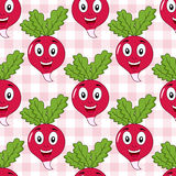Cartoon Happy Radish Seamless Pattern Stock Image