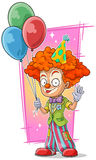 Cartoon happy redhead clown with balloons Royalty Free Stock Photography