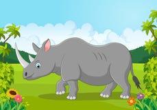 Cartoon happy rhinoceros in the jungle Royalty Free Stock Image