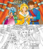 Cartoon happy royal couple in the castle Stock Photography