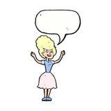 Cartoon happy 1950's woman with speech bubble Royalty Free Stock Photo