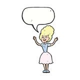 Cartoon happy 1950's woman with speech bubble Stock Image