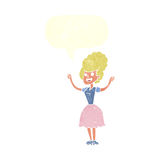 Cartoon happy 1950's woman with speech bubble Royalty Free Stock Images