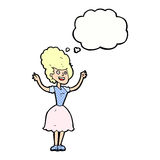 Cartoon happy 1950's woman with thought bubble Stock Photo