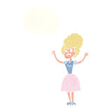 Cartoon happy 1950's woman with thought bubble Stock Images