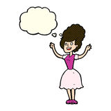 Cartoon happy 1950's woman with thought bubble Stock Photography