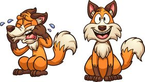 Cartoon happy and sad fox. Vector clip art illustration with simple gradients. Each on a separate layer royalty free illustration