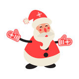 Cartoon happy Santa Claus in red mittens. Stock Photography